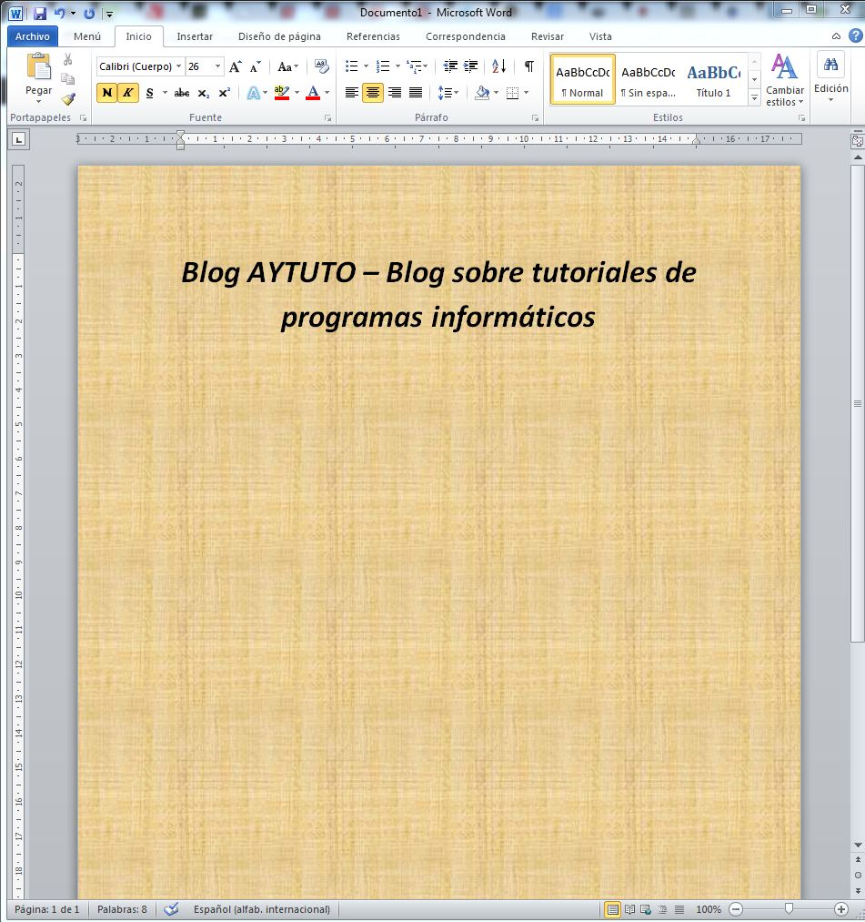 AYTUTO: Cambiar el color de fondo de un documento en WORD
