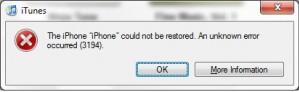 iTunes Error 3194