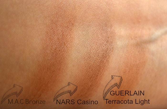 Polvos_bronceadores_Nars_Casino_M.A.C_Bronze _y _Guerlain_ Terracota_ Light_swatches_02