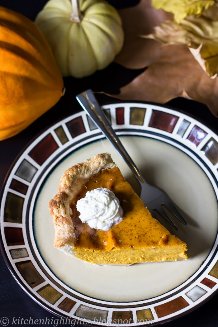 This lovely pie is filled with smooth organic pumpkin purée mixture flavored with cinnamon, ginger and cloves, in addition, to eggs and condensed milk