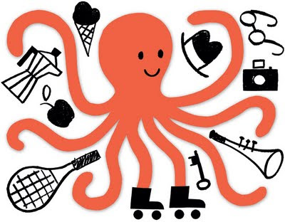 juggling octopus illustration
