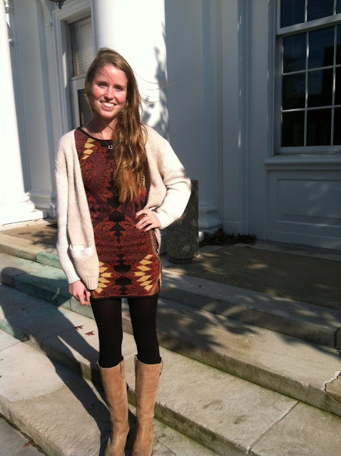 Sally is a Senior from Greenville, DE majoring in Fashion Merchandising. She's wearing a Free People dress, black Urban Outfitters tights, Steve Madden boots and a H&M sweater.