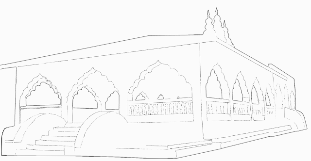 black and white sketch or a large Hindu temple