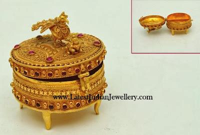 Gold Kumkum Box