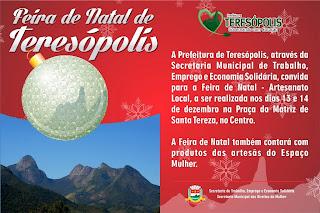 Feira de Natal acontece nesta sexta (13) e sábado (14) na Praça da Matriz de Santa Teresa