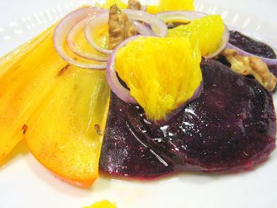 Салат со свеклой, апельсинами и грецкими орехами
