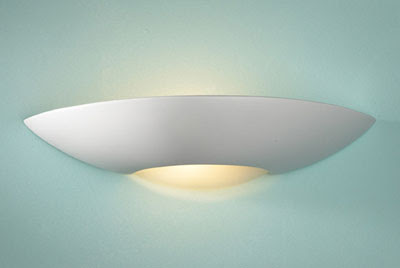 The modern SLI072 Slice Uplighter, plaster wall lamp with acidated glass insert at the base