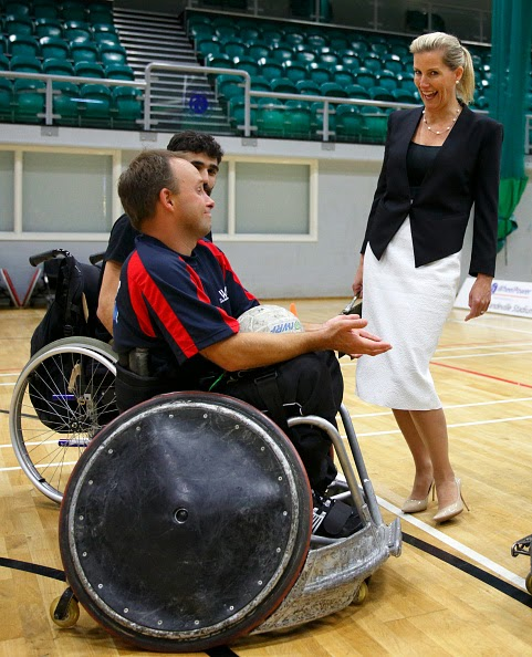 ophie, Countess of Wessex meets David Weir, winner of six Paralympic gold medals, during a visit to WheelPower at the Stoke Mandeville Stadium