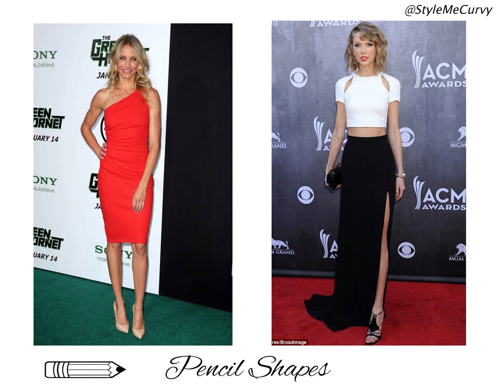 Pencil shape bodies Cameron Diaz and Taylor Swift