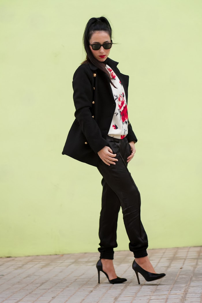 Withorwithoutshoes wearing Military Coat, floral neoprene sweatshirt and cuffed pants