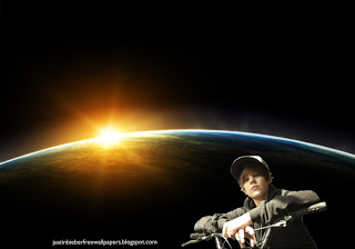 Wallpaper of Justin Bieber Riding Bicycle at Space Eclipse desktop wallpaper