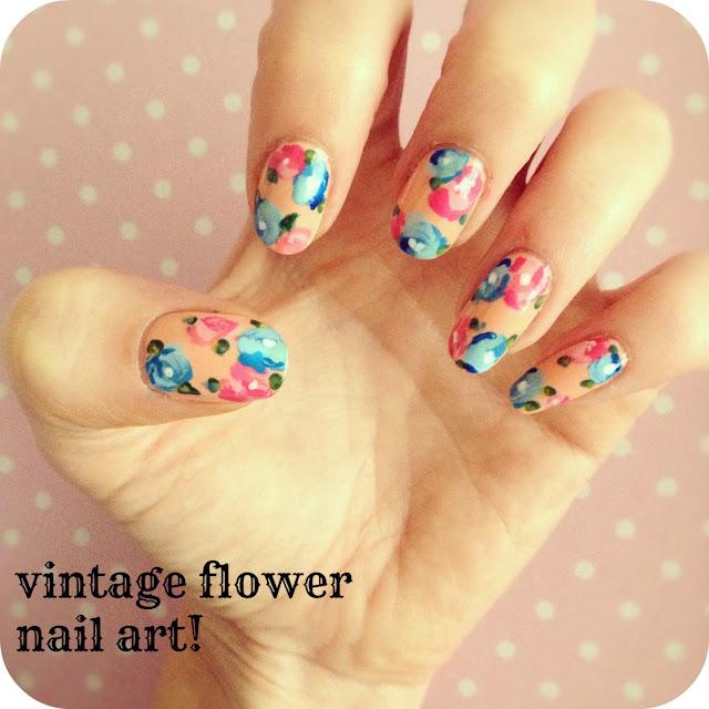 Flower Nail Art: Vintage Flower Nail Art:
