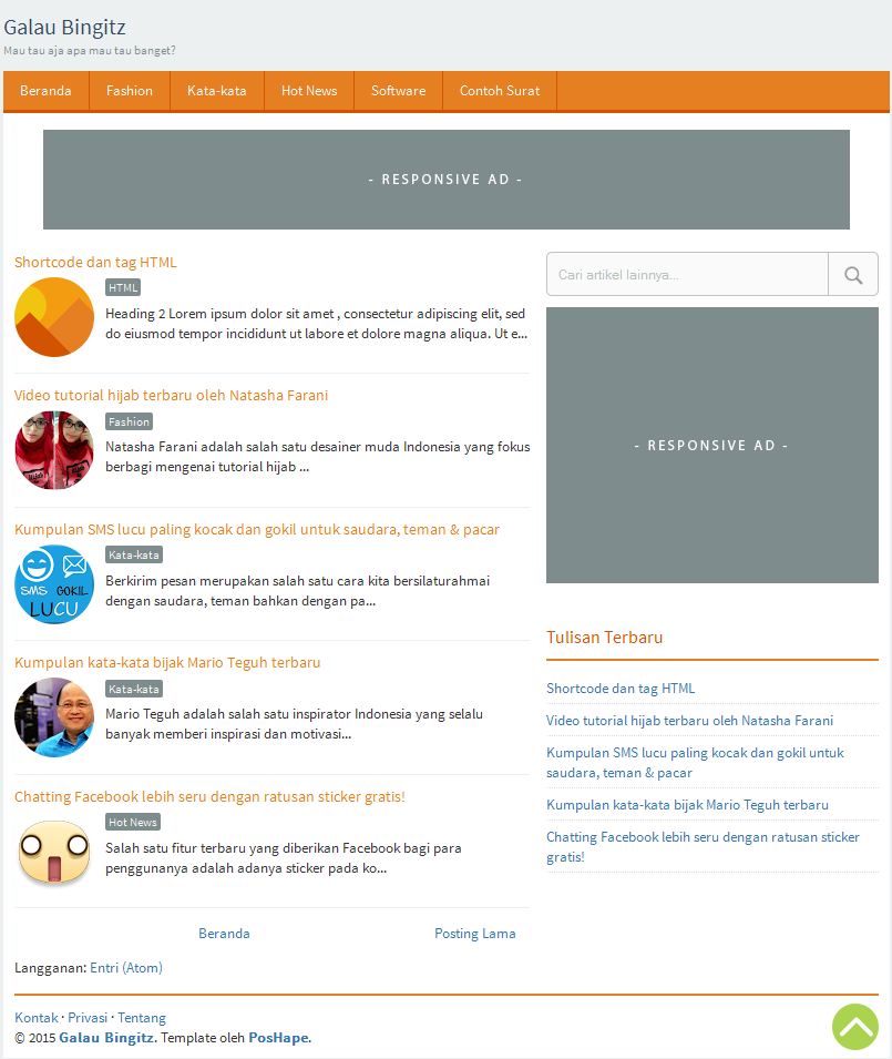 Galau Blogger Template