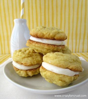 Lemon Cream pudding cookies on a white plate
