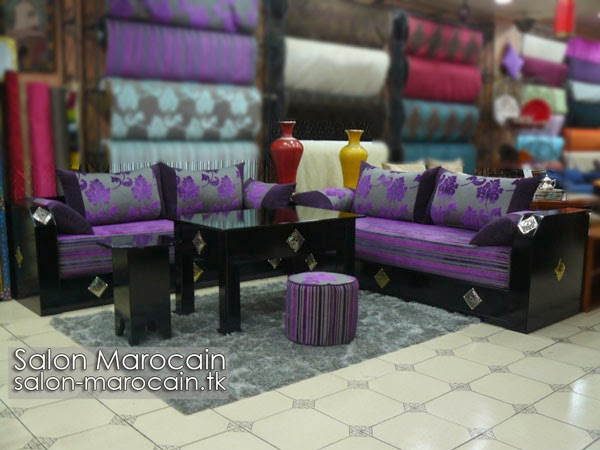 Salon marocain moderne mauve 2014 | Decoration marocaine