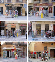 Contaminación visual en BIC Centro Histórico de Málaga, tiendas de souvenir