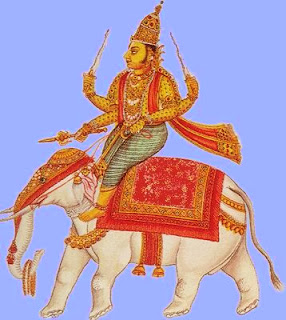Indra, king of the gods, weilder of the thunderbolt, riding his white elephant; South Indian painting.