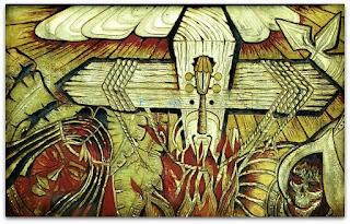 Ilustração em muro do Paseo de La Identidad, em Puerto Iguazú, na Argentina. Cruz de madeira pegando fogo.