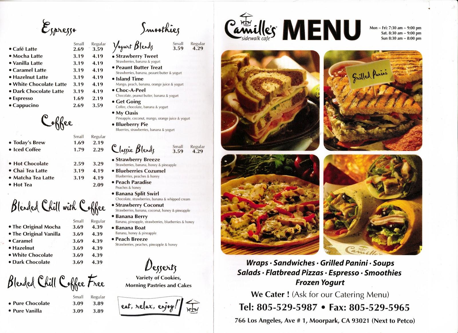 Camille S Sidewalk Cafe Menu