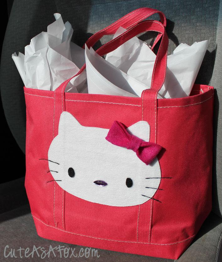 Hello kitty applique gift bag
