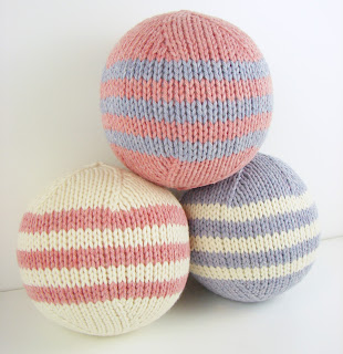 hand knit ball toy pink purple white