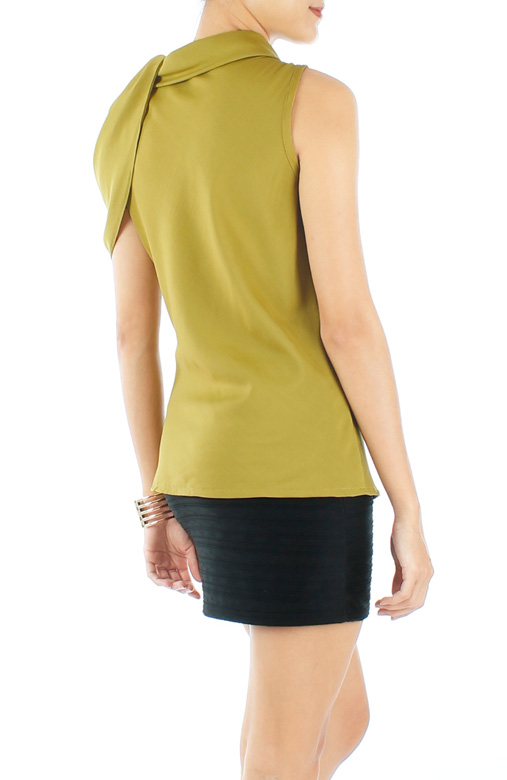 Chartreuse Couture One-Shoulder Ruffled Top