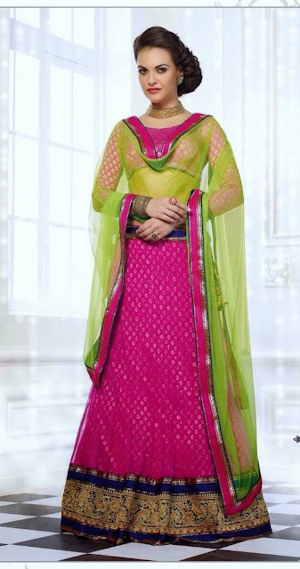 Pink & Green Net Designer Lehenga With Art Silk Choli & Resham Work