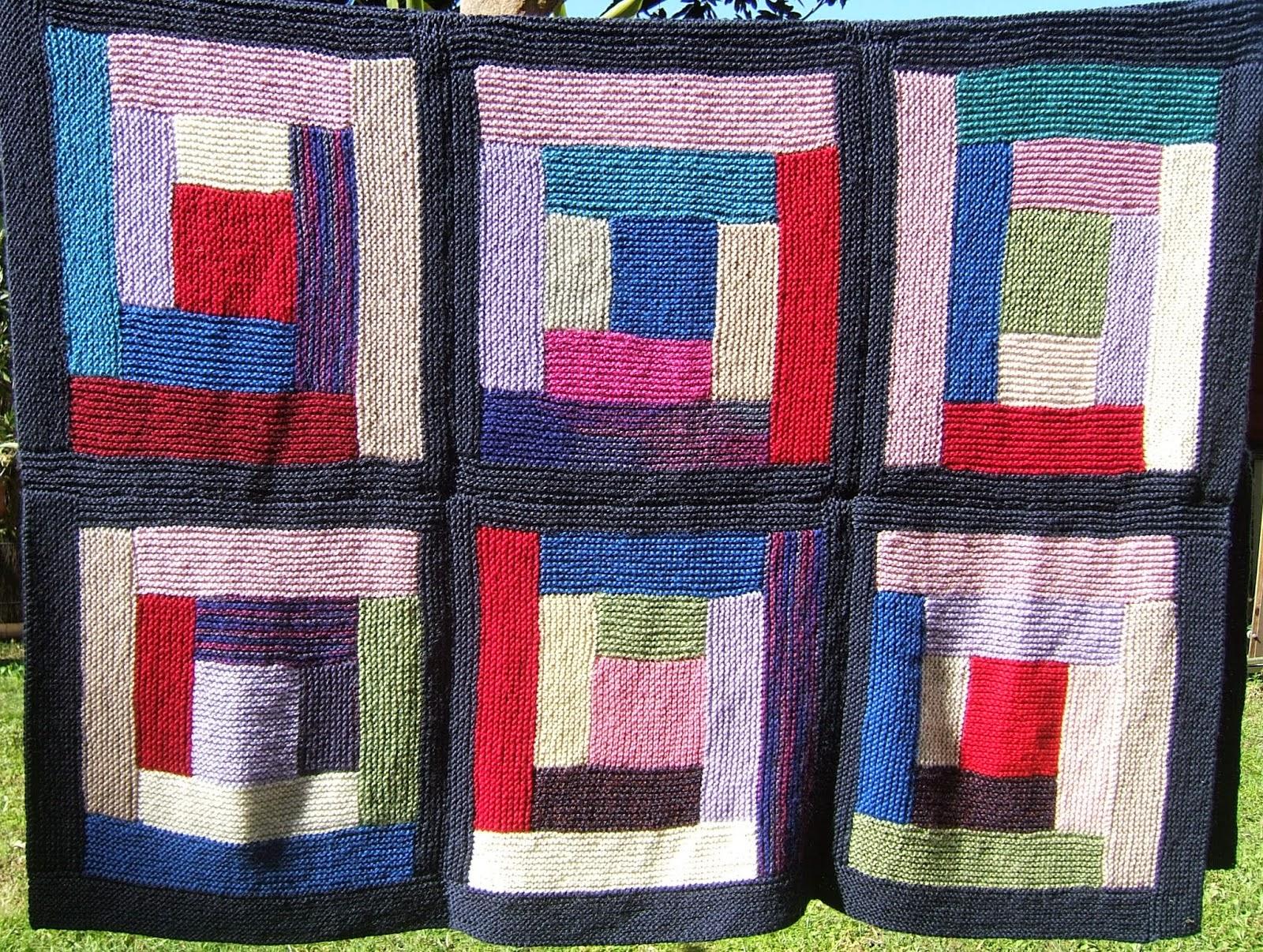 Aussie knitting threads log cabin knitted blanket finished for Log cabin blanket