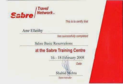 Sabre Certificate