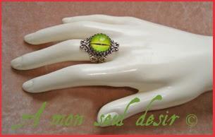 Bague oeil jaune vert lézard eye ring green lizard