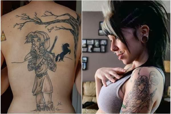 Hot teenage Girls with Zelda's twilight price and sorcerer princess tattoo on their back and arm