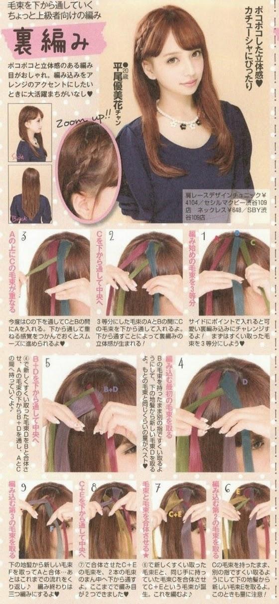 Yumichii, Trança embutida invertida, tutorial, gyaru, kawaii