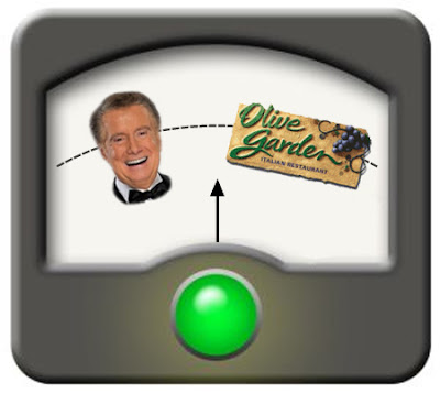 image of a meter with Regis Philbin on one side and the Olive Garden logo on the other