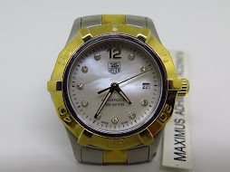 TAG HEUER AQUARACER 300M WHITE MOTHER OF PEARL(MOP) DIAL - DIAMOND INDEX - TWO TONE GOLD SS - LADY