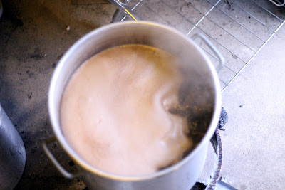 Boiling stout wort, one of the best smells there is.