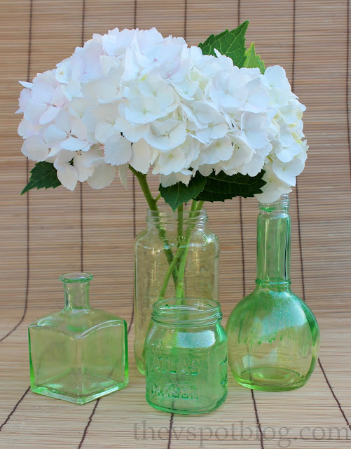DIY colored glass bottles and jars