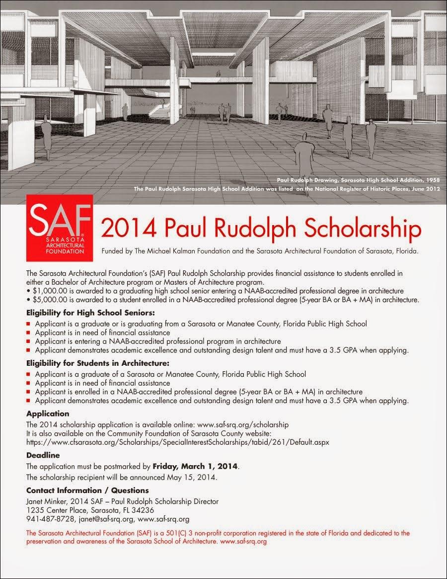 2014 SAF-Paul Rudolph Scholarship