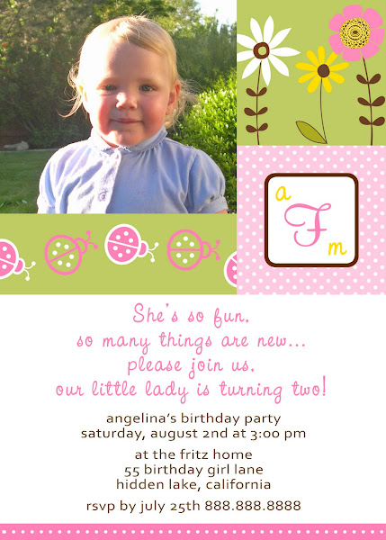 Little Lady Bug Birthday Invitation