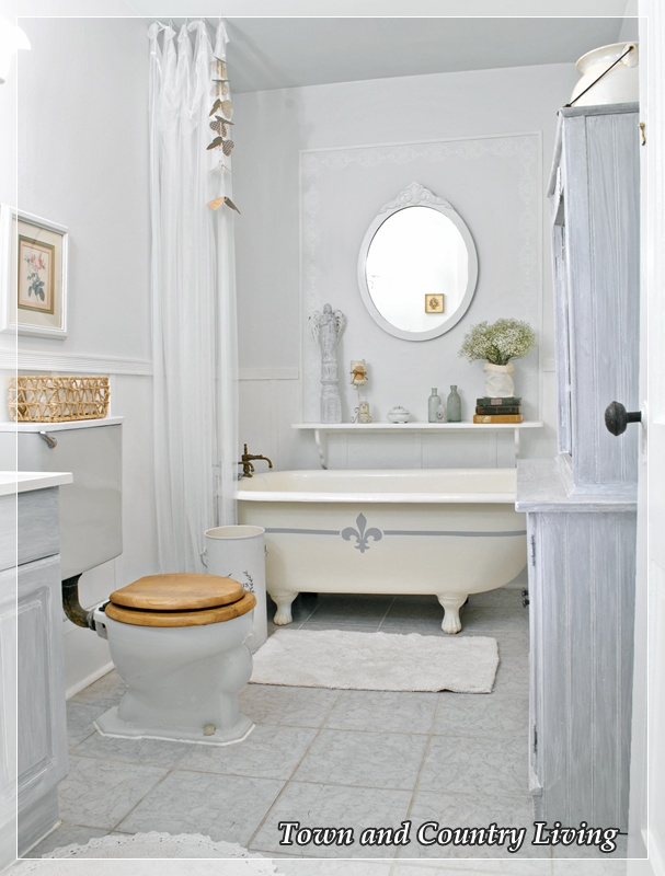 Shades of amber chalk paint link party for French style bathroom design
