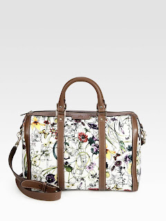 VINTAGE WEB FLORA CANVAS BOSTON BAG