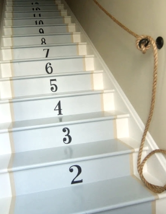 staircase with numbers on risers