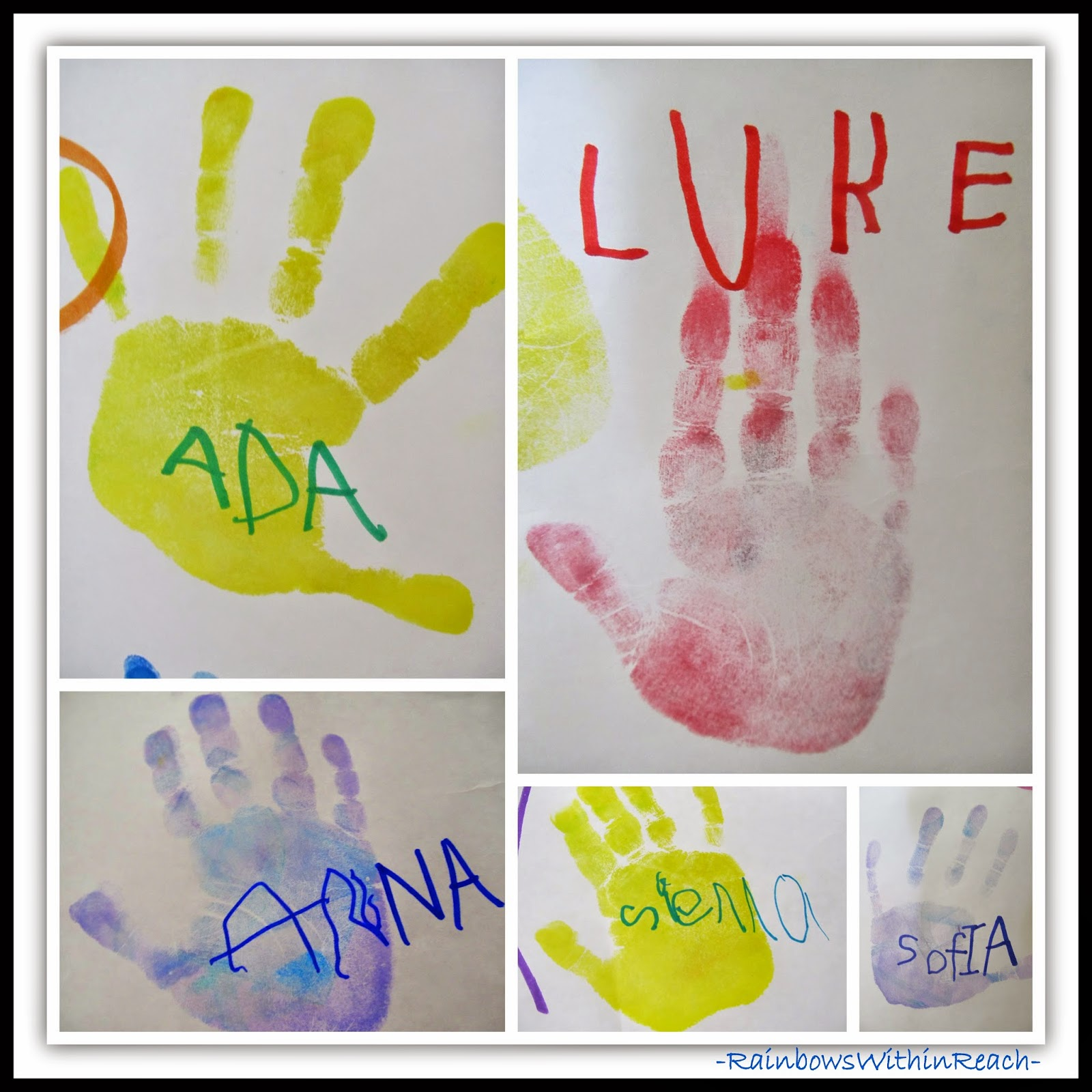 "Preschoolers ""Sign"" Their Hand Prints at RainbowsWithinReach"