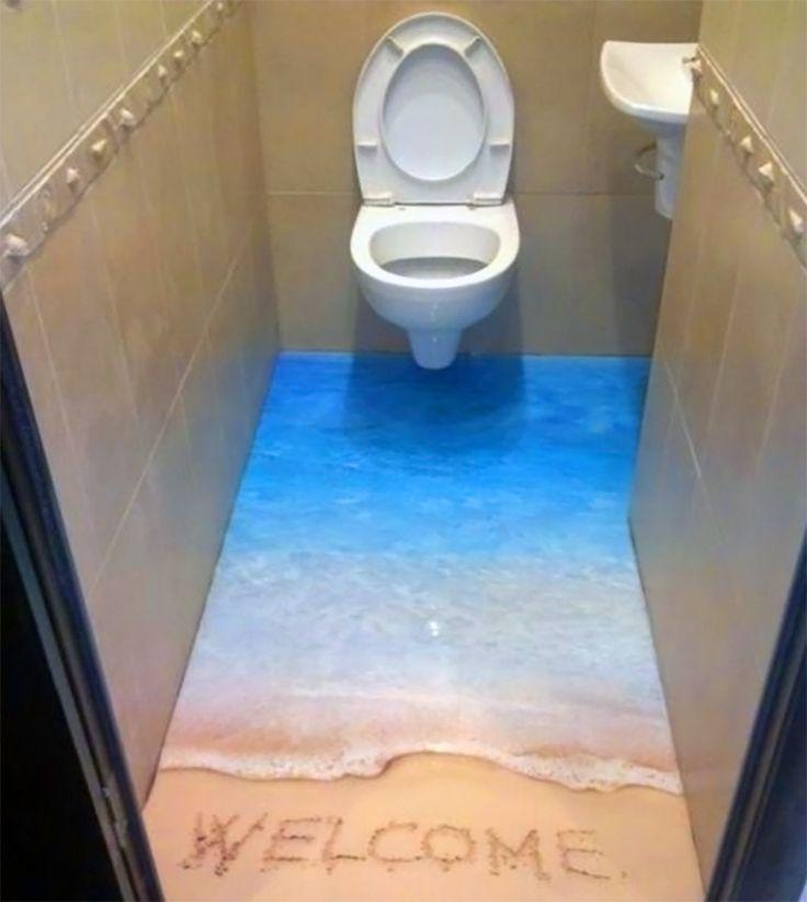 Welcoming 3D Bathroom Floor Beach Shaped