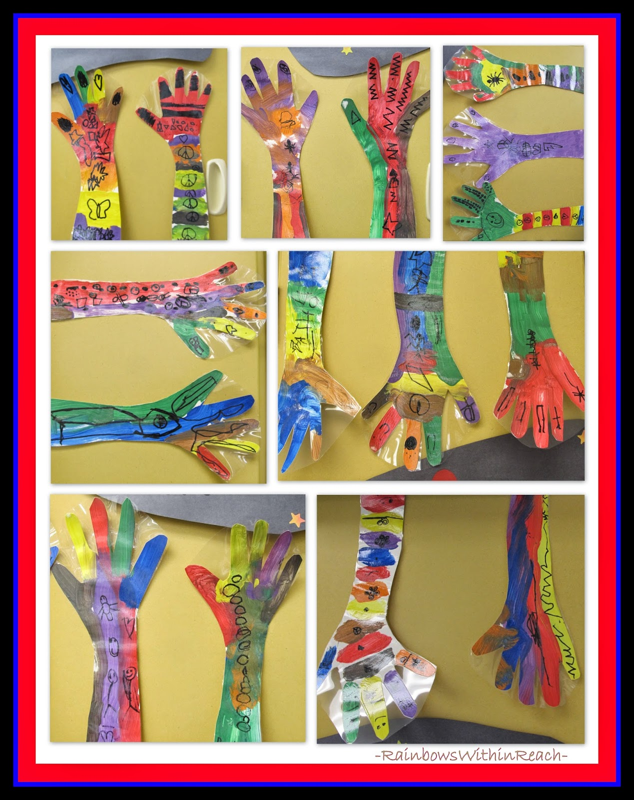 Back to School Hand Art in Kindergarten via RainbowsWithinReach