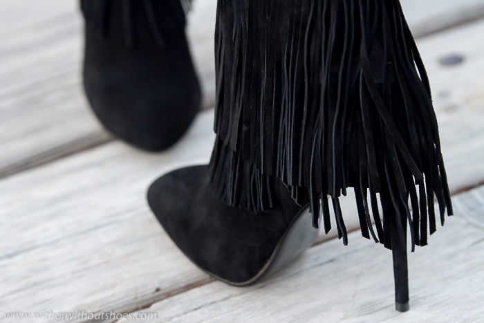 New Shoes: Black Suede Fringed Stiletto Ankle Boots by DANIEL Footwear