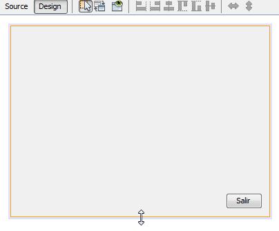 Puntero del mouse sobre el borde horizontal inferior del JFrame