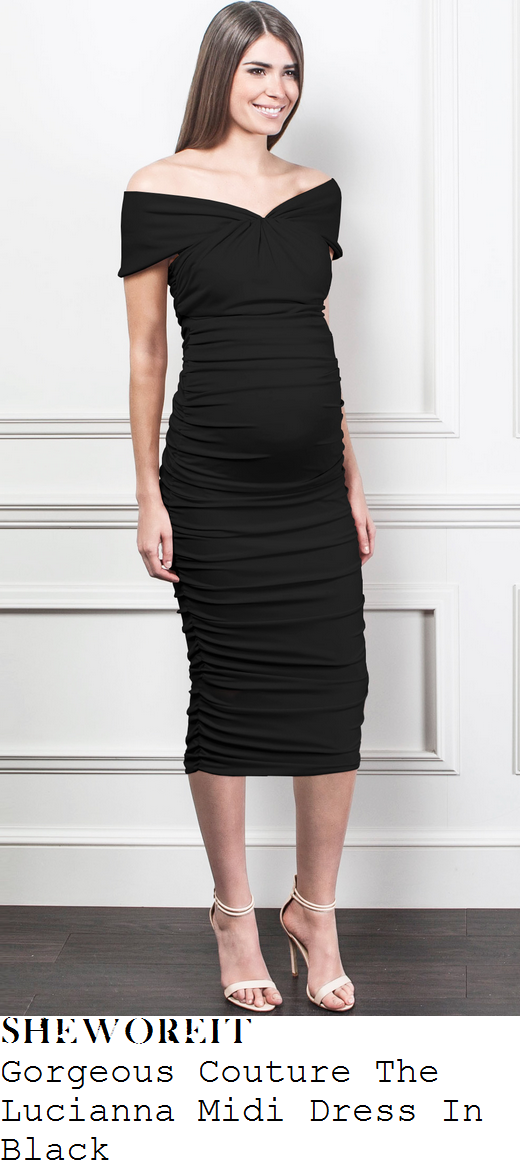 sam-faiers-black-off-shoulder-ruched-bodycon-midi-dress