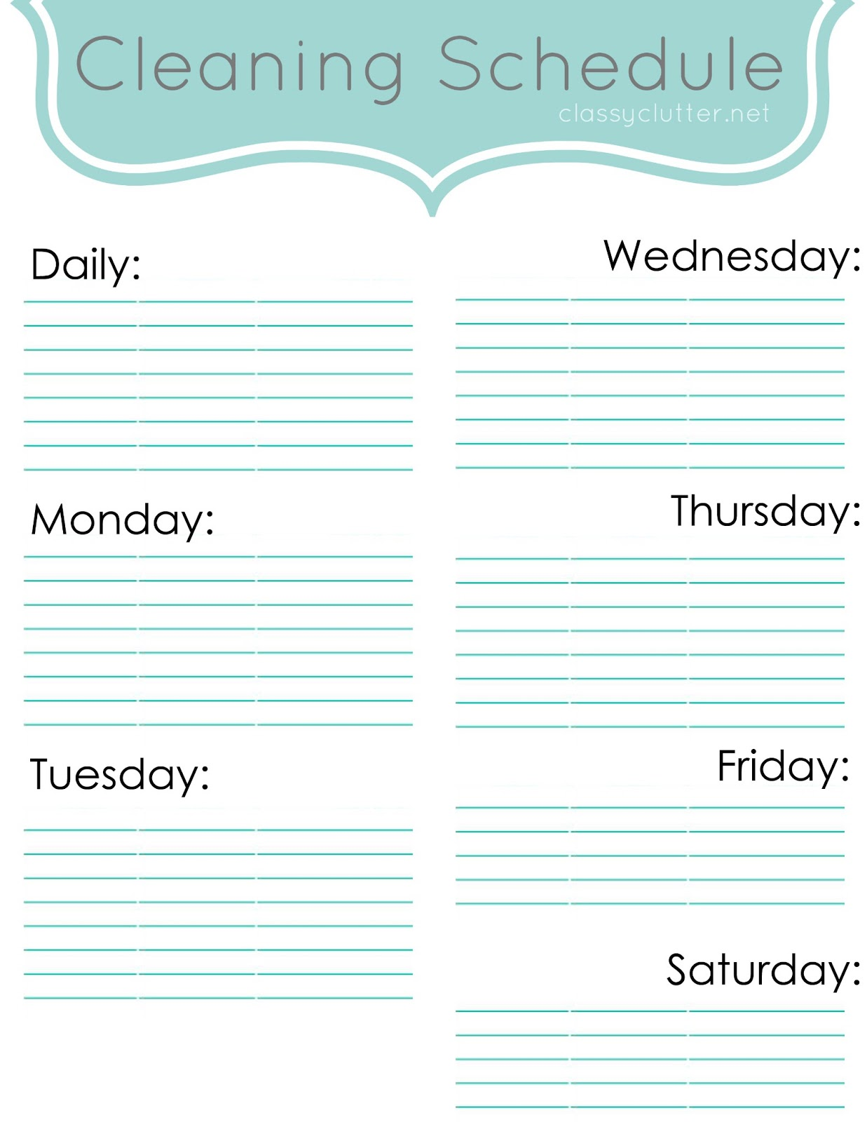 Weekly Cleaning Schedule Classy Clutter – Cleaning Schedule