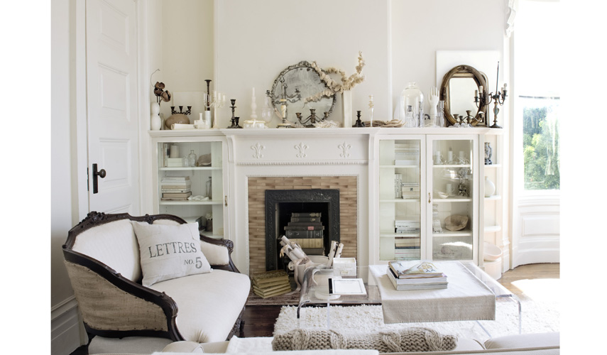 White French Country Living Room with Fireplace