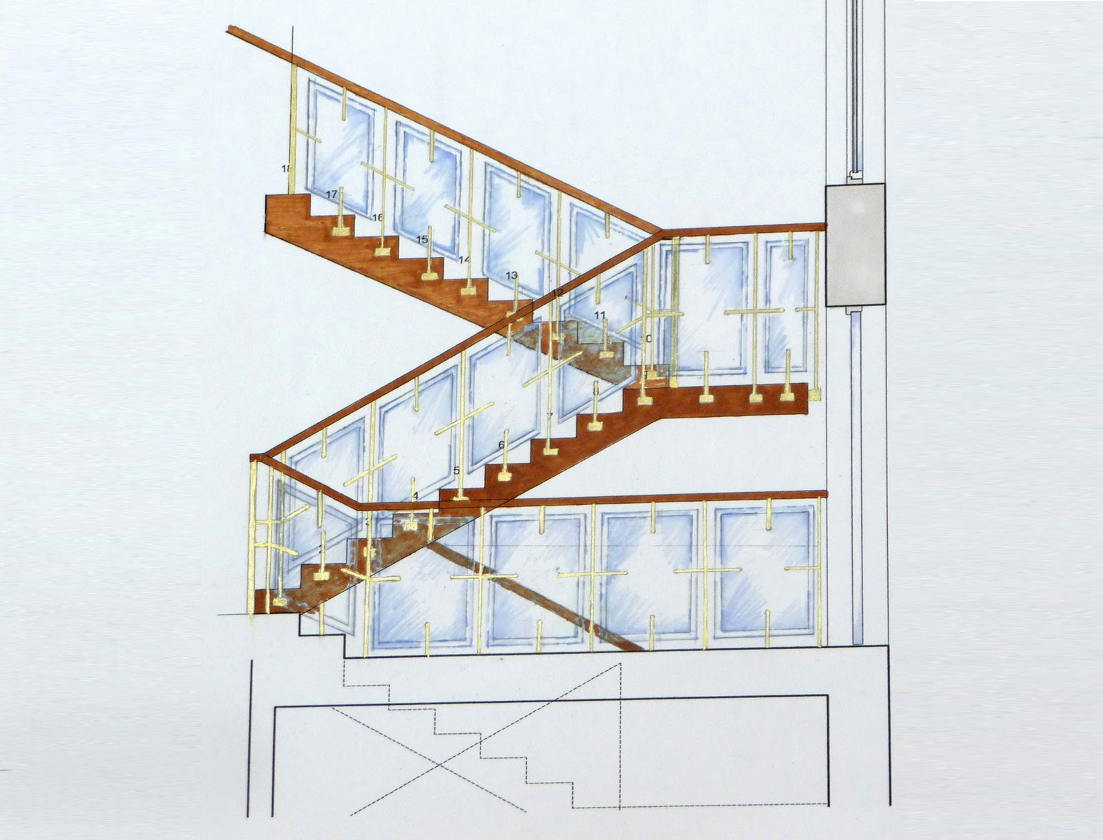 Elevation of bespoke staircase